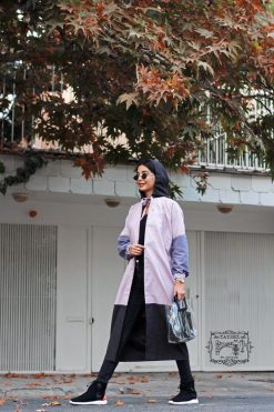 مانتو میکرو دو رنگ پاییزی تایسز کلاهدار