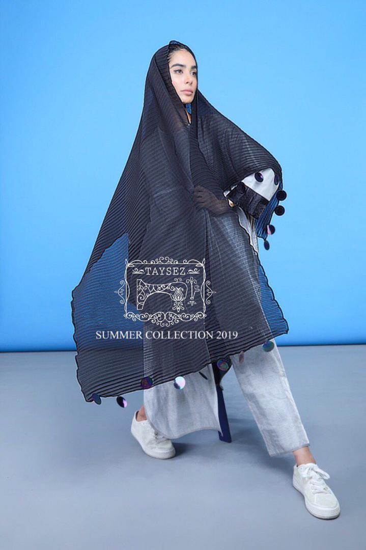 مدل مانتو مشکی تابستانی تایسز شال مشکی