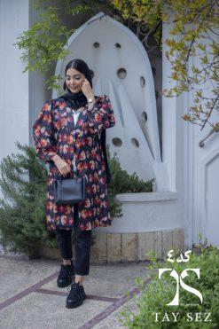 مانتو ژاکارد چاپ دار ترک طرح برگ قرمز تابستانی گلدار تایسز