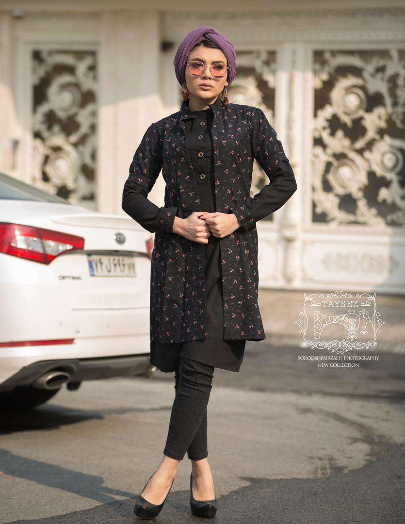 مانتو مدل سنتی تابستانی زمستانی تایسز دوتیکه مشکی بلند تایسز