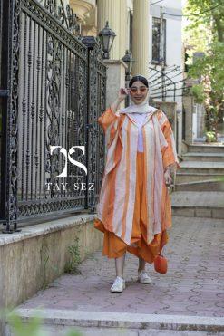 مانتو لینن هندی نخی تایسز رنگ نارنجی