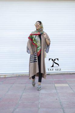 مانتو سوزن دوزی هندی رنگ نسکافه ای تایسز