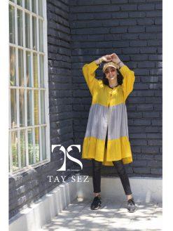 مانتو تابستانی وال نخی عروسکی رنگ زرد