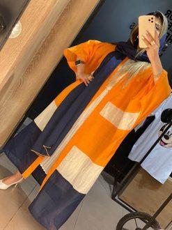مانتو تابستانی کرپ سودا مگا نارنجی تایسز