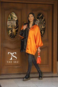 مانتو پاییزه ضد آب دو رنگ نارنجی مشکی تایسز