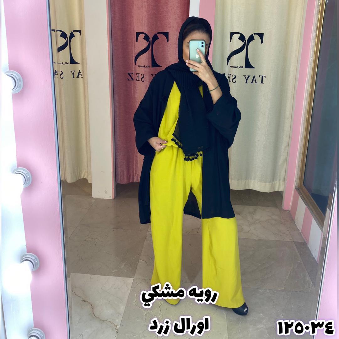 2پی اس مجلسی و کژوال مانتو تایسز رنگ مشکی زرد